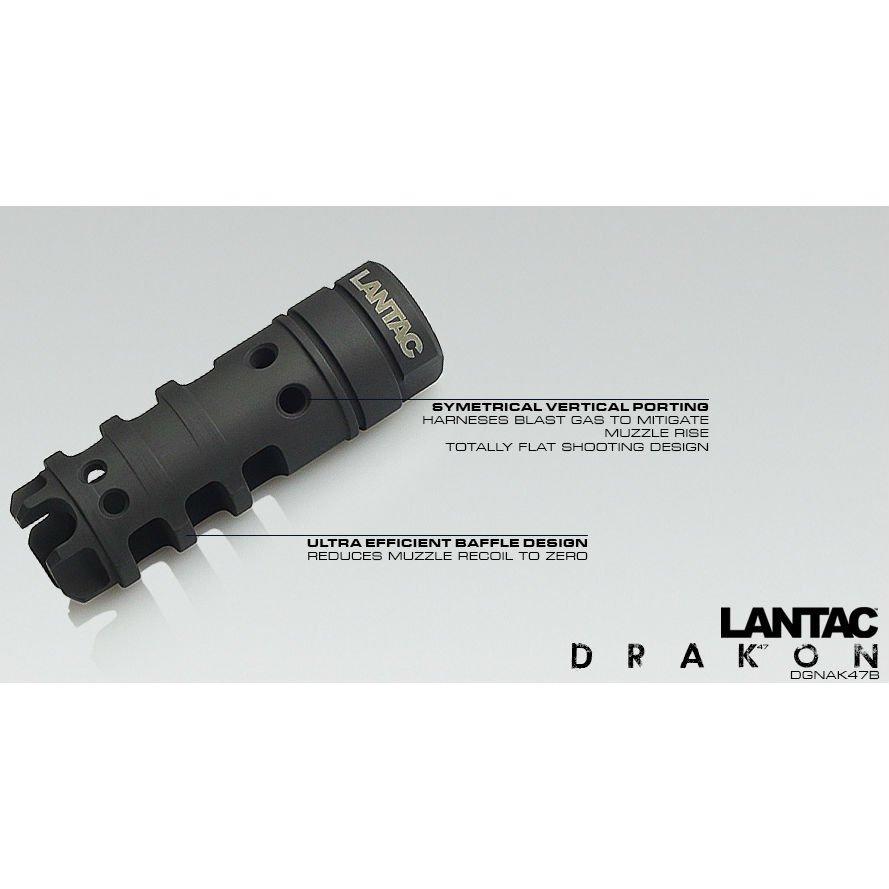 LANTAC DRAKON MUZZLE BRAKE FOR AK47, 7 62MM, 14x1 LH