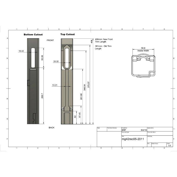 REAR SHEET METAL KIT FOR MG42 M53, 406MM LONG
