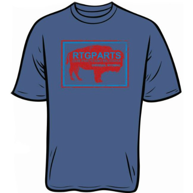 RTG PARTS T-SHIRT, NAVY, Wyoming Buffalo Logo, Sheridan